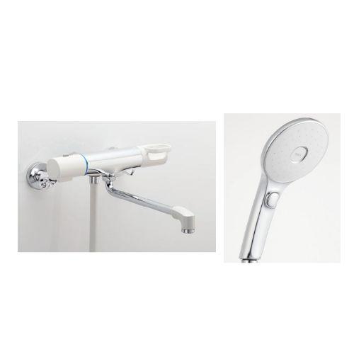 兼用壁付サーモ水栓(ノルマーレS)+スイッチ付エコフルシャワー[ホワイト]