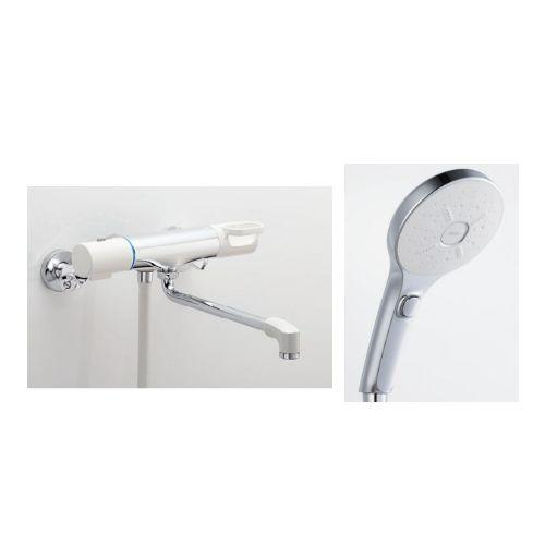 兼用壁付サーモ水栓(ノルマーレS)+スイッチ付エコフルシャワー[メタル調]