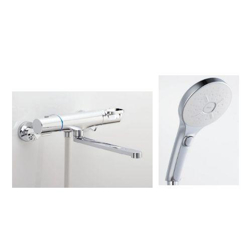 兼用壁付サーモ水栓(クロマーレS)+スイッチ付エコフルシャワー[ホワイト]
